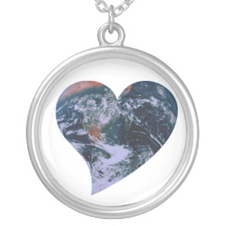 Earth Day Heart Silver Plated Necklace