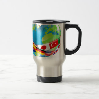 Earth Day Heart With Flags Travel Mug