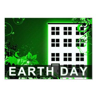 earth day : hi-fi building 3.5x5 paper invitation card