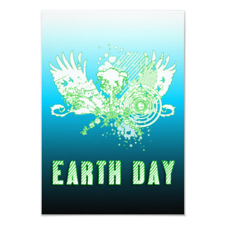 earth day : hi-fi tree 3.5x5 paper invitation card