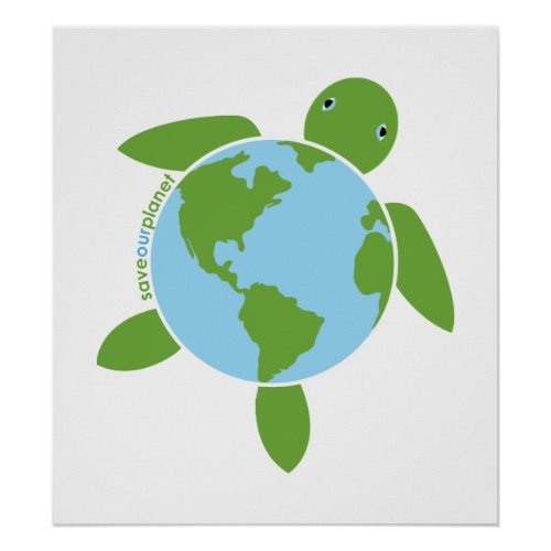 Earth Day Honu Poster zazzle_print