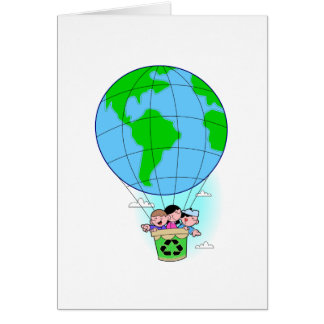 Earth Day hot air balloon Greeting Cards