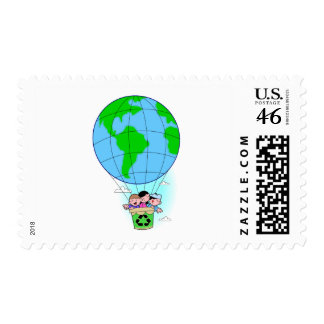 Earth Day hot air balloon Postage Stamp