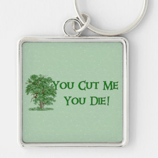 Earth Day Humor Silver-Colored Square Keychain