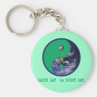Earth Day is Every Day Yin Yang Tshirts, Mugs Basic Round Button Keychain