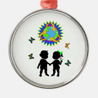 Earth Day Kids Metal Ornament