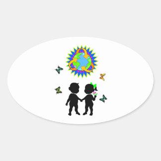 Earth Day Kids Oval Sticker
