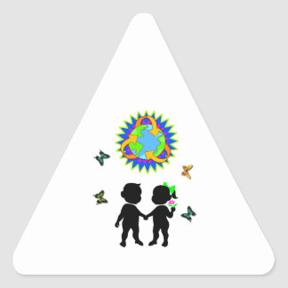Earth Day Kids Triangle Sticker