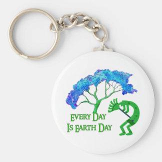 Earth Day Kokopelli Basic Round Button Keychain