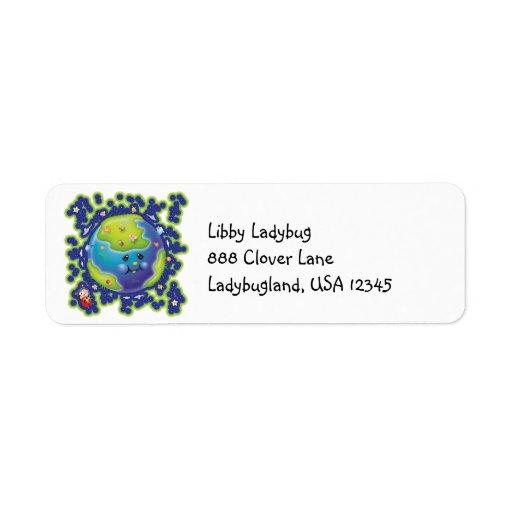 Earth Day Ladybug Address Label