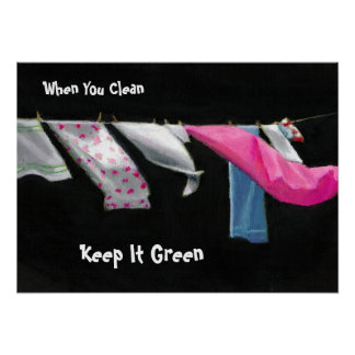Earth Day Laundry on Line Keep It Green Print