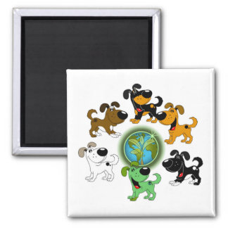 Earth Day! - Leaf and Five Pups Magnet