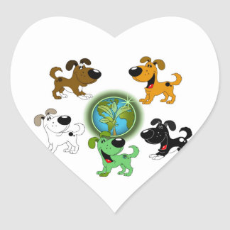 Earth Day! - Leaf and Four Pups Heart Sticker