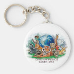 Earth Day Live In Peace Wildlife Animal  Keychain