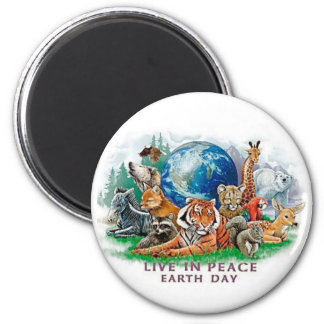 Earth Day Live In Peace Wildlife Animal  Magnet