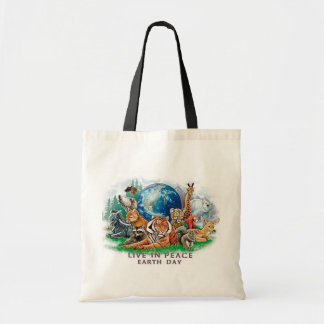 Earth Day Live In Peace Wildlife Tote
