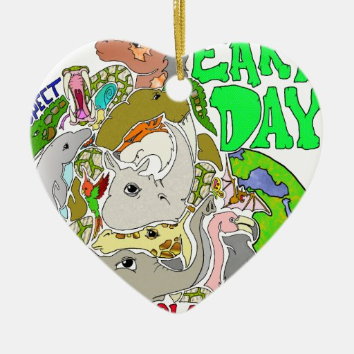 EARTH DAY LOVE Double-Sided HEART CERAMIC CHRISTMAS ORNAMENT