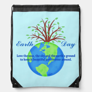 Earth Day Love Save It blue Environment Art Drawstring Backpack