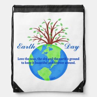 Earth Day Love Save It Globe Tree Environment Art Drawstring Backpack