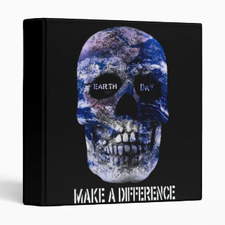 """Earth Day Make A Difference Skull 1"""" Binder"""