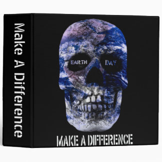 """Earth Day Make A Difference Skull 2"""" Binder"""