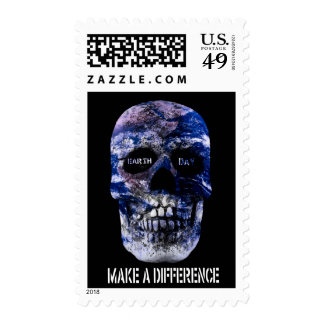 Earth Day Make A Difference Skull Postage