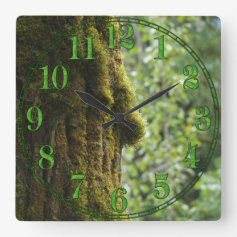 Earth Day Mossy Tree Forest Nature Clock