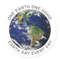 Earth Day One Earth One Home Globe World Custom Classic Round Sticker