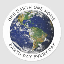 Earth Day One Earth One Home Globe World Custom Classic Round Sticker