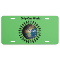 Earth Day Only One World Planet Earth Photo License Plate