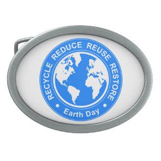 Earth Day Oval Belt Buckle