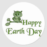 Earth Day Owl Classic Round Sticker