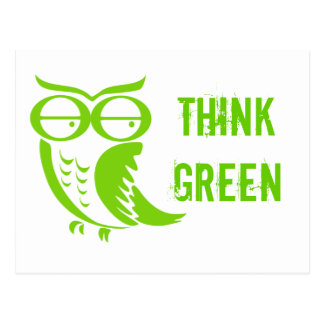 Earth day owl green thoughts postcard