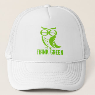 Earth day owl green thoughts trucker hat