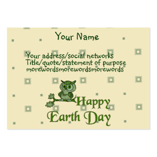 Earth Day Owl Large Business Card