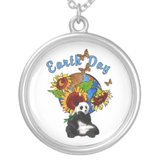 Earth Day Panda Planet Round Pendant Necklace