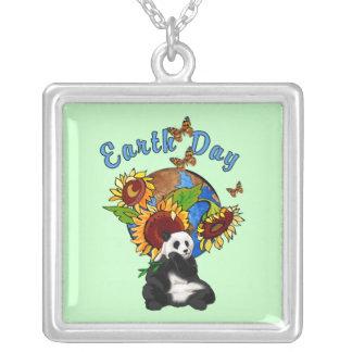 Earth Day Panda Planet Square Pendant Necklace