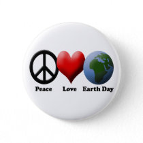Earth Day, Peace Love Earth Day Pinback Button
