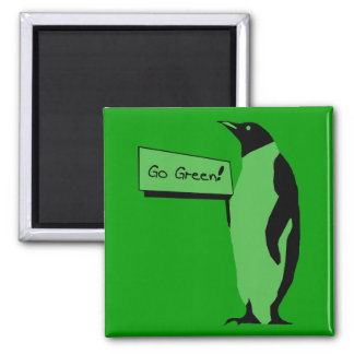 Earth Day Penguin 2 Inch Square Magnet