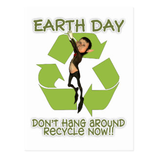 Earth Day Post Card Elf Haning Off Recycle Logo