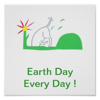 Earth Day Poster Dog Digging