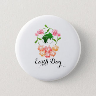 """Earth Day"" Pretty Floral Badge. Pinback Button"