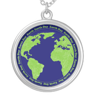 Earth Day Rubber Stamp Necklace