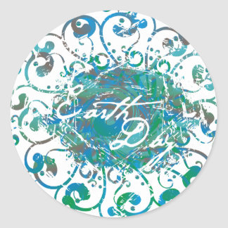Earth Day Scroll Circle Stickers