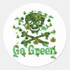 Earth Day Skull Classic Round Sticker