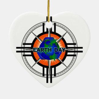 Earth Day Star Crown Ceramic Ornament
