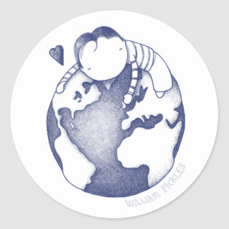 Earth Day Sticker - Blue on White