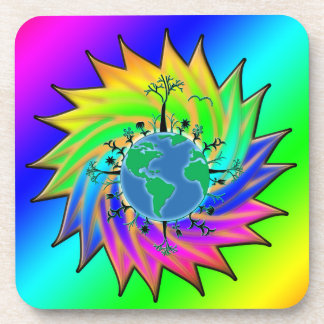 Earth Day ~ Sunburst Beverage Coaster