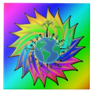 Earth Day ~ Sunburst Ceramic Tile