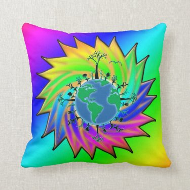 Earth Day ~ Sunburst Throw Pillow
